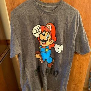 New Men's T-shirt size large  grey w/ Super Mario